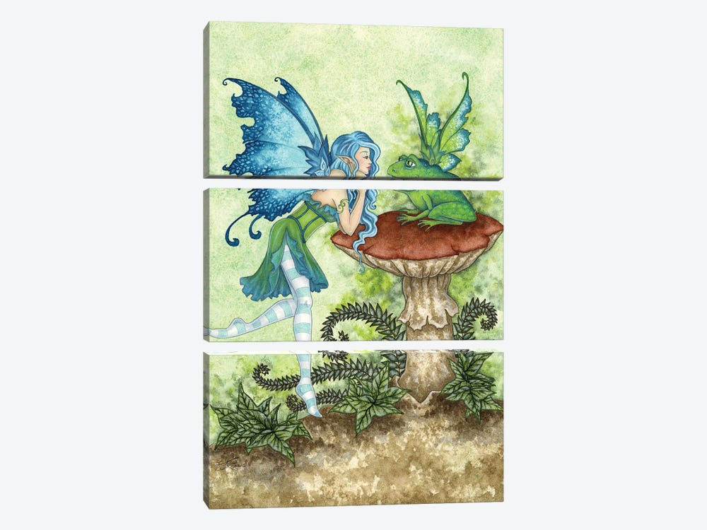 Frog Gossip by Amy Brown 3-piece Canvas Art Print