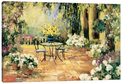 Floral Courtyard Canvas Art Print