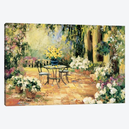 Floral Courtyard 3-Piece Canvas #AYN11} by Allayn Stevens Art Print