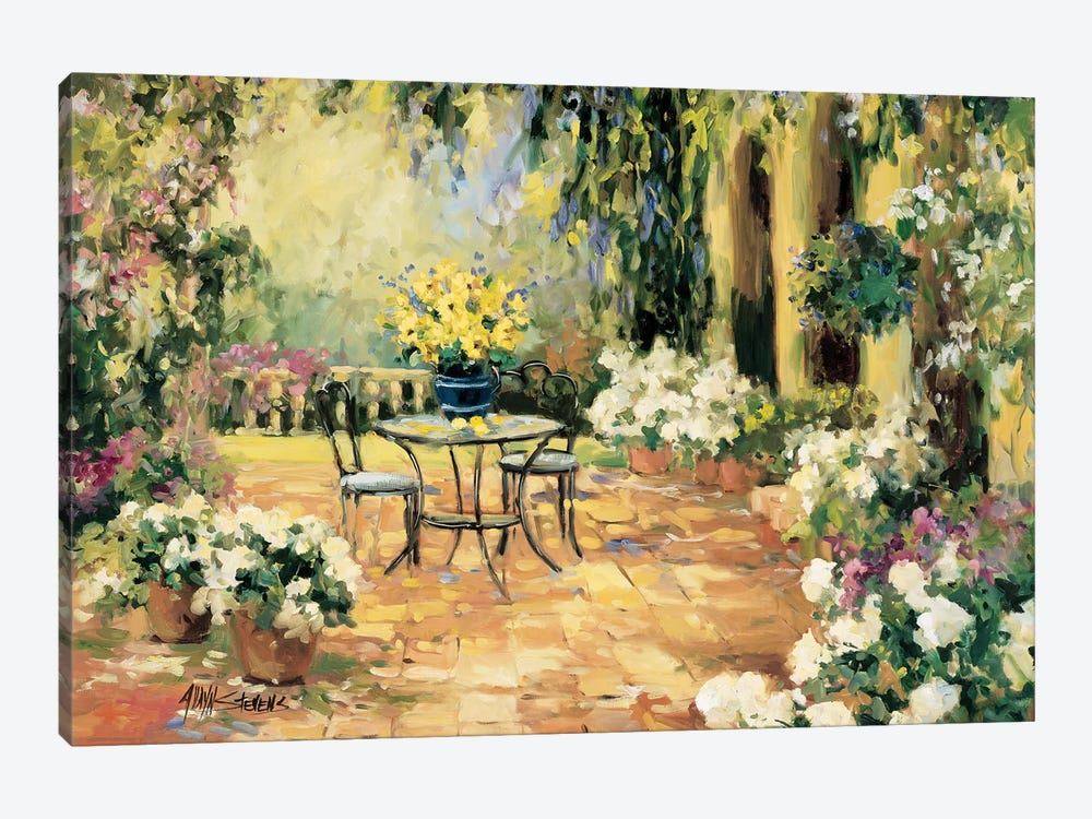 Floral Courtyard 1-piece Canvas Wall Art