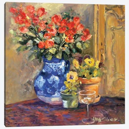 Red Flowers, Detail I 3-Piece Canvas #AYN26} by Allayn Stevens Art Print
