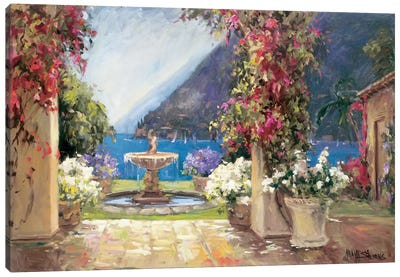 Seaside Fountain Canvas Art Print