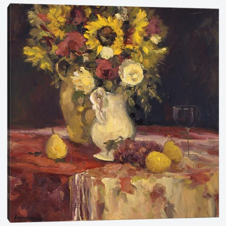 Sunflowers And Wine Canvas Print #AYN36} by Allayn Stevens Canvas Art