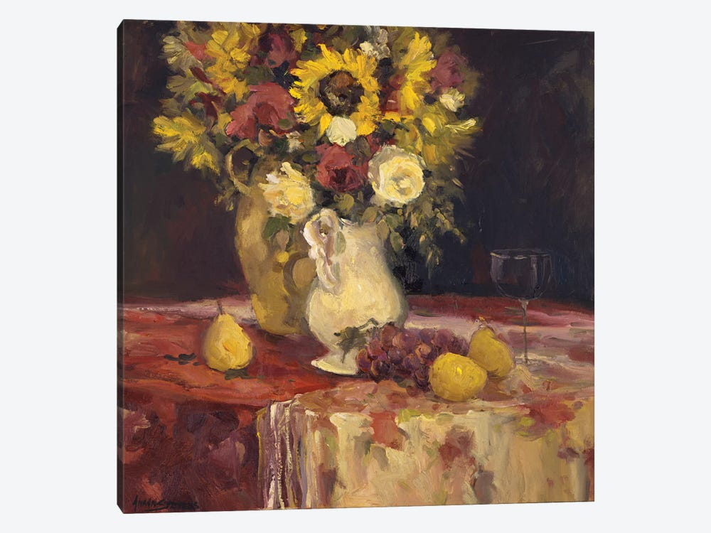 Sunflowers And Wine by Allayn Stevens 1-piece Canvas Print