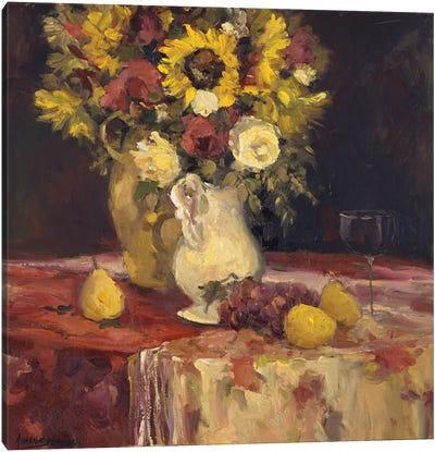 Sunflowers And Wine Canvas Art Print