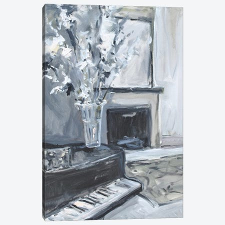 Piano & Fireplace Canvas Print #AYN93} by Allayn Stevens Canvas Art Print