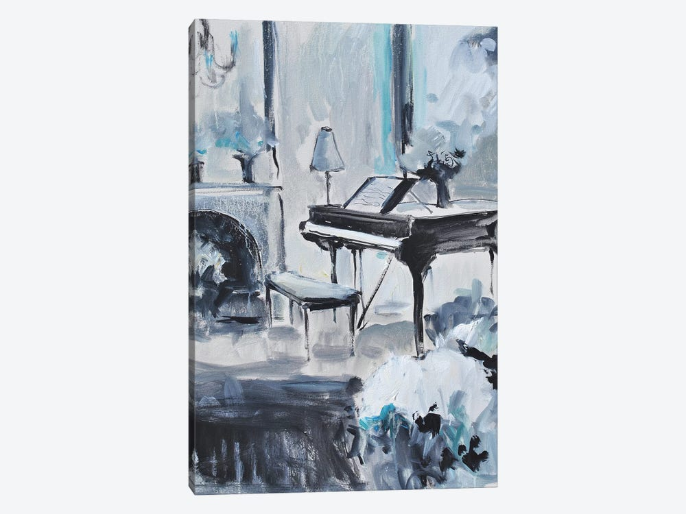 Piano In Blue III 1-piece Canvas Art Print