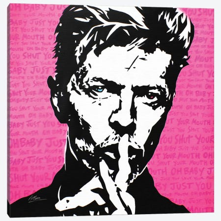 David Bowie: Shh Canvas Print #BAE12} by MR BABES Canvas Wall Art
