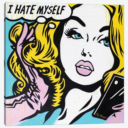 Low Selfie Esteem (Roy Lichtenstein Satire) Canvas Print #BAE21} by MR BABES Canvas Art Print