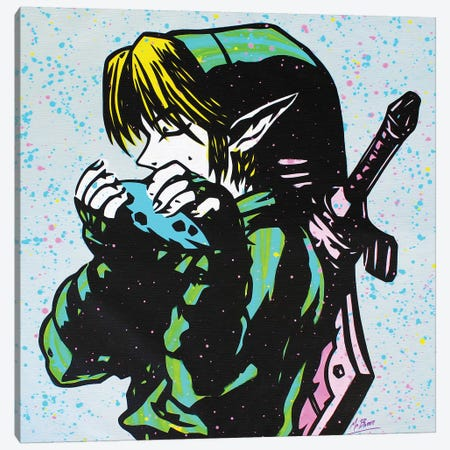 The Legend Of Zelda: Link (Ocarina Of Time) Canvas Print #BAE31} by MR BABES Canvas Wall Art