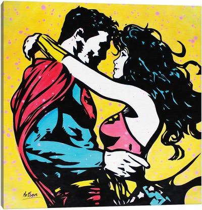 When A Superman Loves A Wonder Woman Canvas Art Print