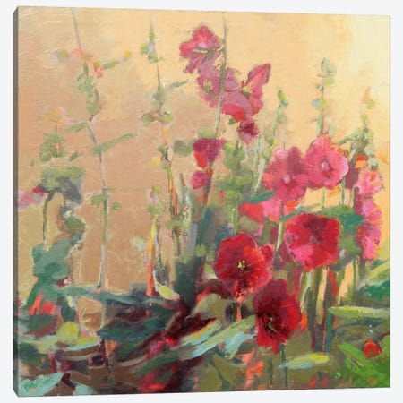 Red Haven Hollyhocks Canvas Print #BAF5} by Beth A. Forst Canvas Wall Art