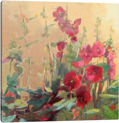 Red Haven Hollyhocks Canvas Art Print