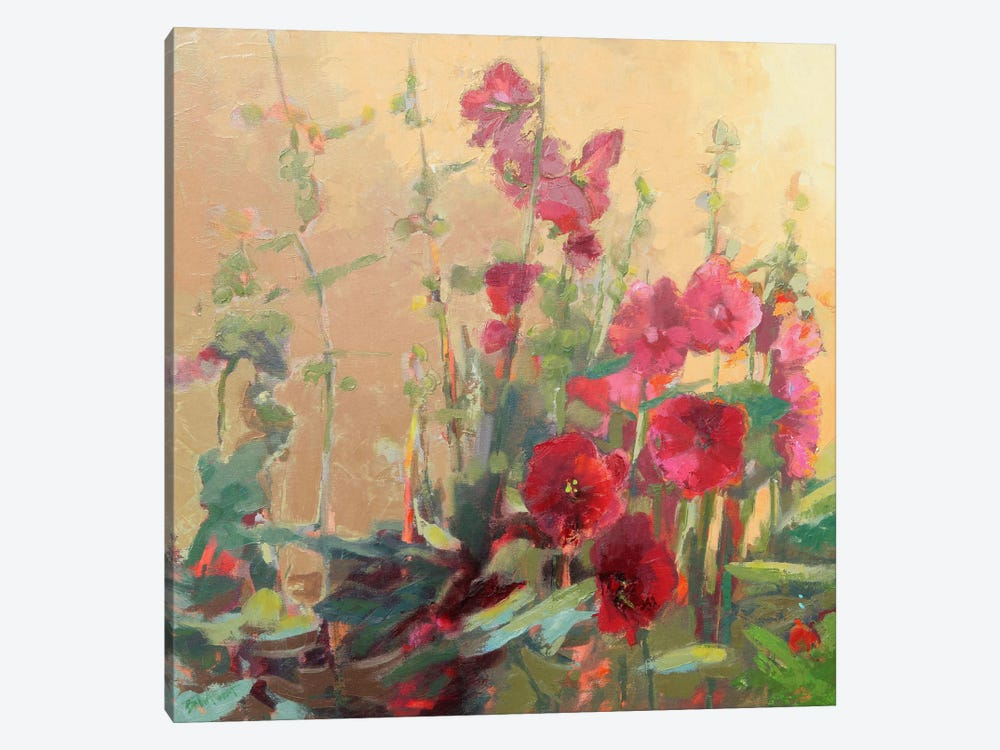 Red Haven Hollyhocks by Beth A. Forst 1-piece Canvas Art Print