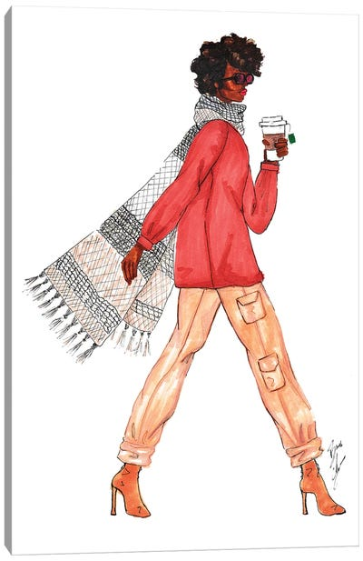 Scarf and Latte Canvas Art Print