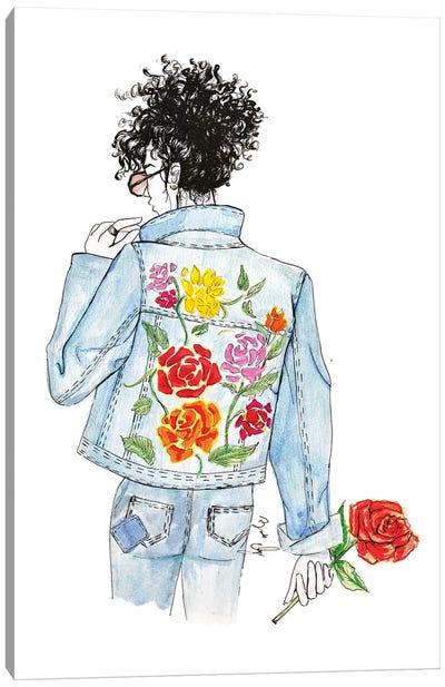 Floral and Denim Canvas Art Print