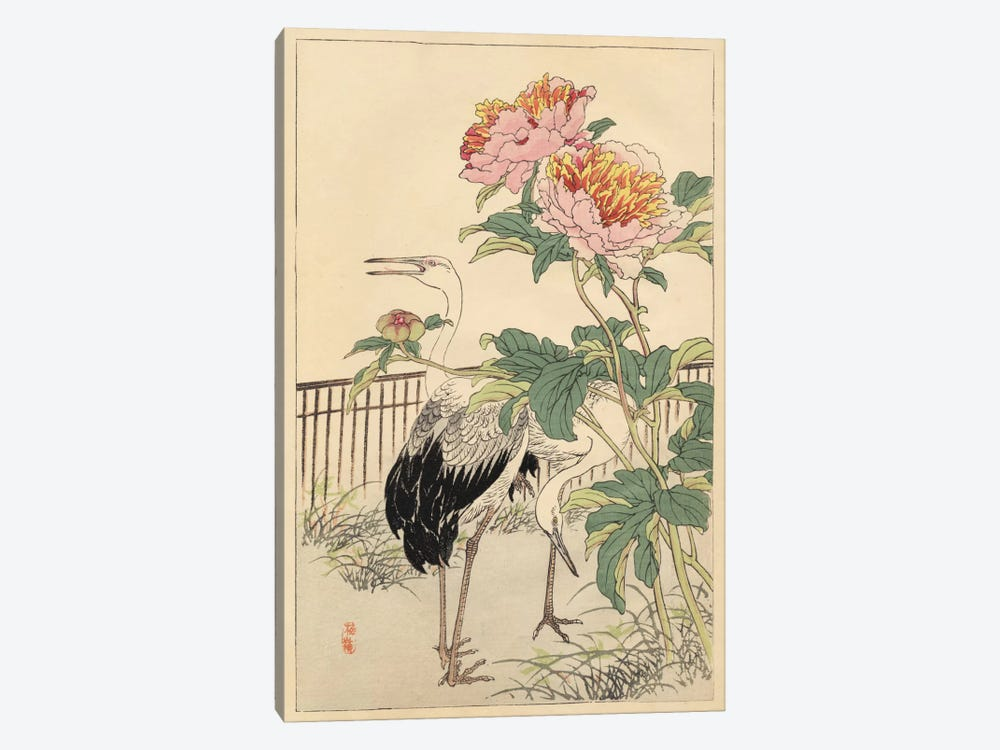 Crane And Peony by Bairei 1-piece Canvas Artwork