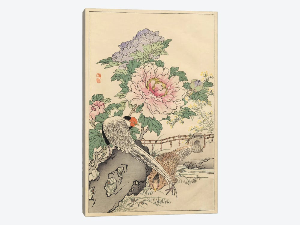 Pheasant And Peony by Bairei 1-piece Canvas Art Print