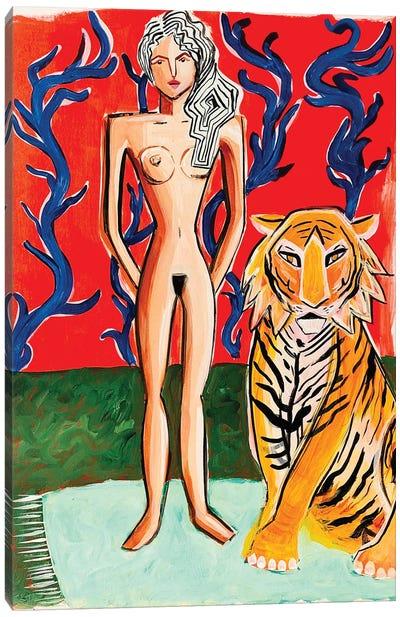 Lady Near Red Canvas Art Print