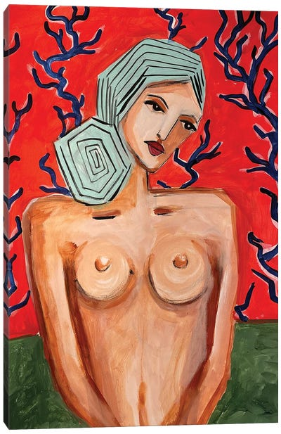 Lady Near Red II Canvas Art Print