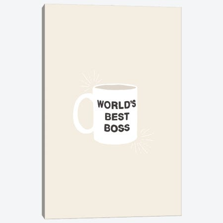 World's Best Boss Canvas Print #BAU12} by The Beau Studio Canvas Wall Art