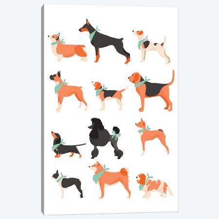 Dog Chart Canvas Print #BAU14} by The Beau Studio Canvas Print