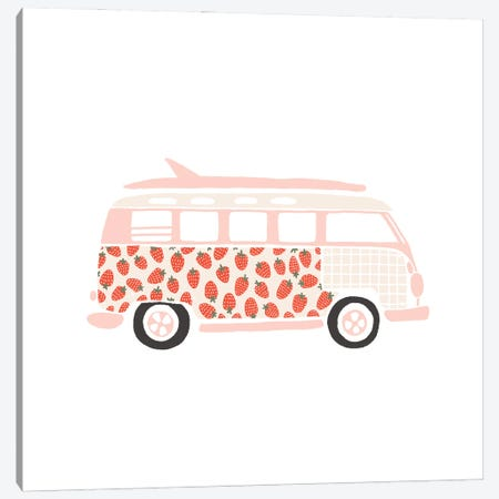 Strawberry Van Canvas Print #BAU23} by The Beau Studio Canvas Print