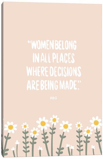 Women Belong Quote Canvas Art Print