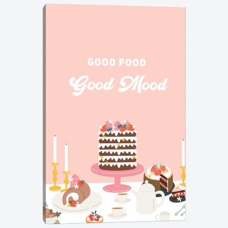 Good Food, Good Mood Canvas Print #BAU44} by The Beau Studio Canvas Artwork