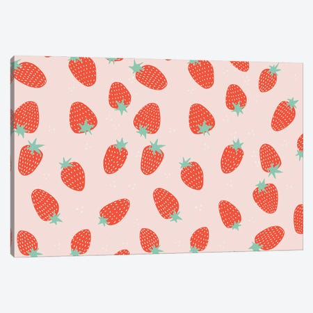 Strawberry Pattern Canvas Print #BAU63} by The Beau Studio Canvas Art Print