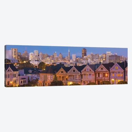 San Francisco, California, Victorian homes and city at dusk Canvas Print #BBA6} by Bill Bachmann Canvas Art