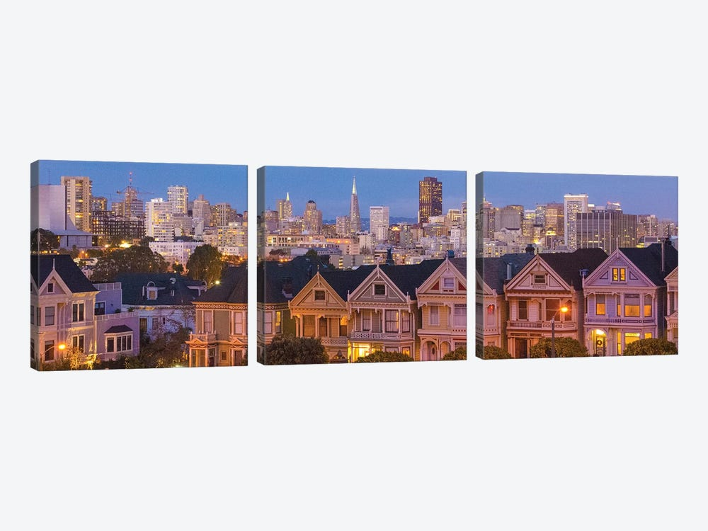 San Francisco, California, Victorian homes and city at dusk by Bill Bachmann 3-piece Canvas Art Print