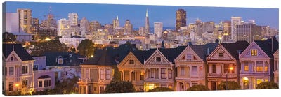 San Francisco, California, Victorian homes and city at dusk Canvas Art Print