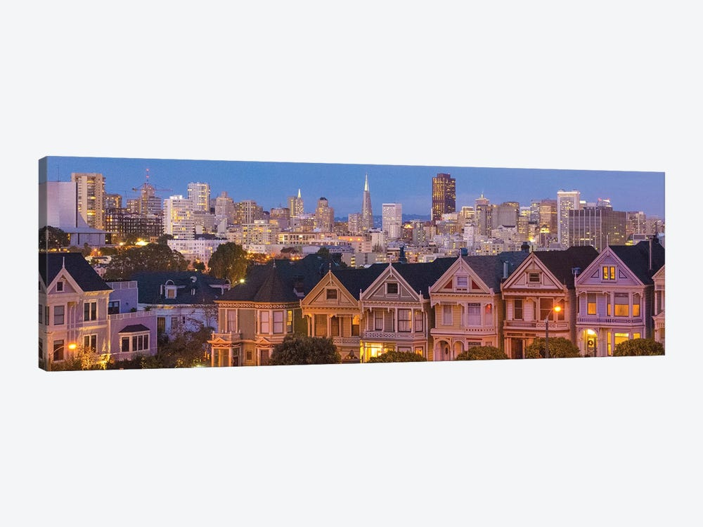 San Francisco, California, Victorian homes and city at dusk by Bill Bachmann 1-piece Art Print