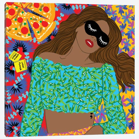 Pizza Girl Canvas Print #BBD15} by BrushBound Canvas Artwork