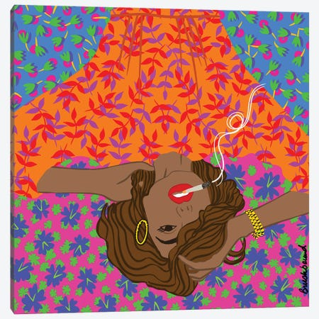 Smoke Girl Canvas Print #BBD34} by BrushBound Canvas Wall Art