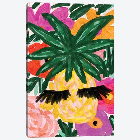 Pineapple And Lashes Canvas Print #BBH110} by Bouffants & Broken Hearts Canvas Print