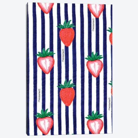 Strawberries And Stripes Canvas Print #BBH115} by Bouffants & Broken Hearts Canvas Artwork