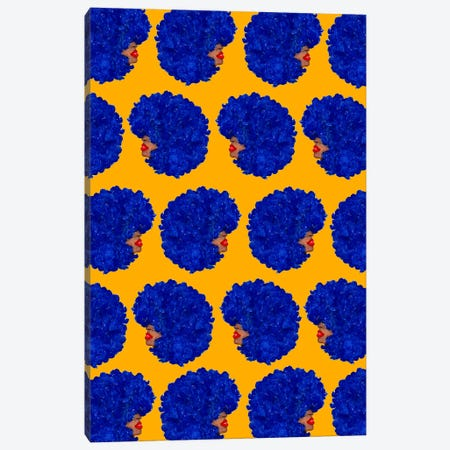 Blue Afro Canvas Print #BBH132} by Bouffants & Broken Hearts Art Print