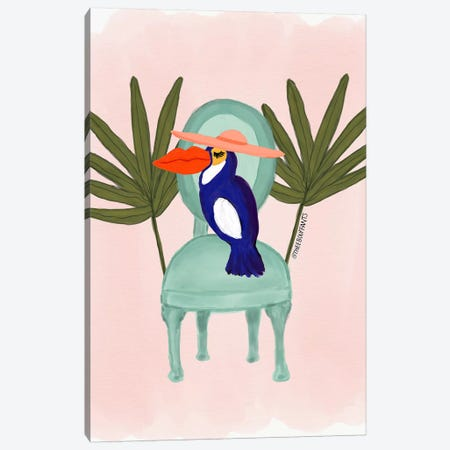 Toucan In A Chair Canvas Print #BBH142} by Bouffants & Broken Hearts Canvas Artwork