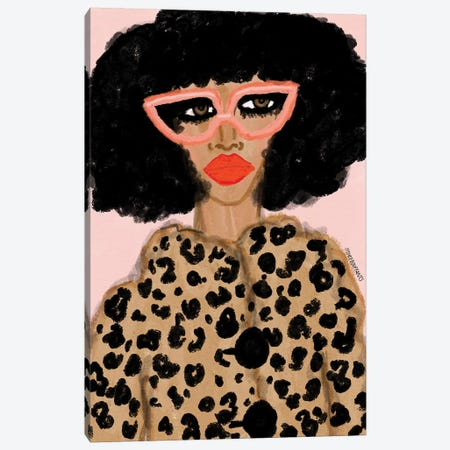 Leopard Coat Canvas Print #BBH149} by Bouffants & Broken Hearts Canvas Artwork