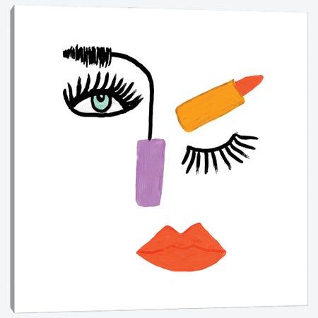 Abstract Make-Up Face Canvas Print #BBH162} by Bouffants & Broken Hearts Canvas Art