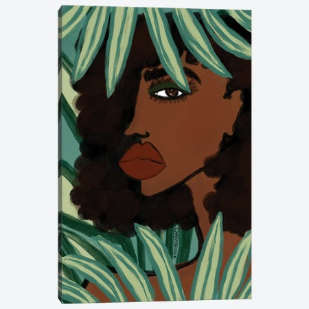 Lady In The Jungle Canvas Print #BBH190} by Bouffants & Broken Hearts Canvas Art Print