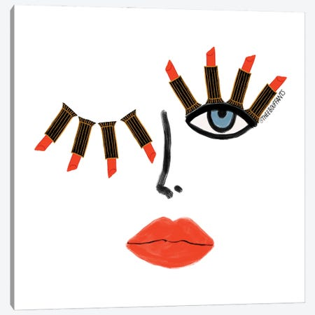 Lipstick Wink Canvas Print #BBH196} by Bouffants & Broken Hearts Canvas Artwork