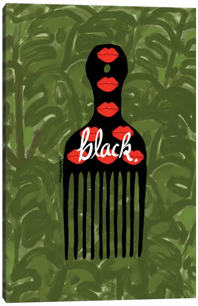 Black Fro Pick Canvas Art Print