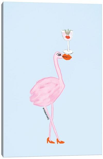 Happy Hour Flamingo Canvas Art Print