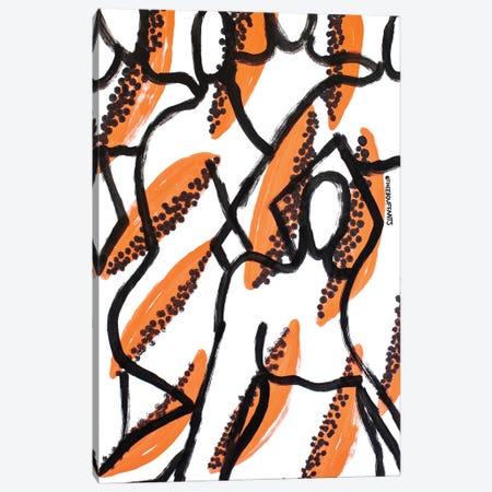 Papaya Figures Canvas Print #BBH236} by Bouffants & Broken Hearts Art Print