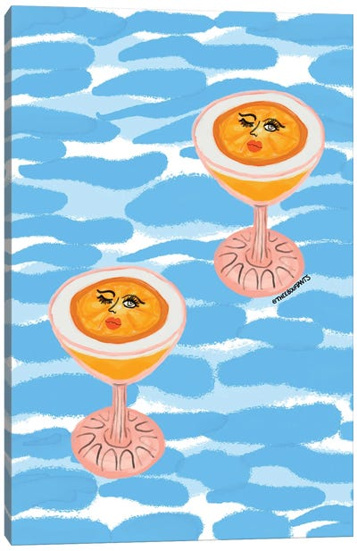 Poolside Cocktails Canvas Art Print