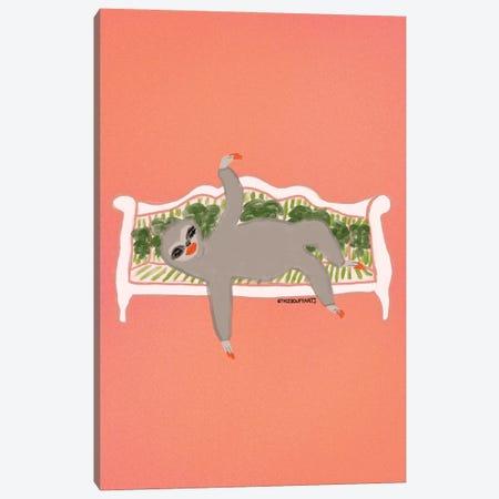 Sassy Sloth Canvas Print #BBH243} by Bouffants & Broken Hearts Canvas Art Print