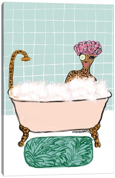 Bathtub Cheetah Canvas Art Print